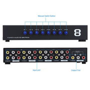 8 In 1 Out Composite Video Audio 3 RCA AV Switch Switcher Box Selector